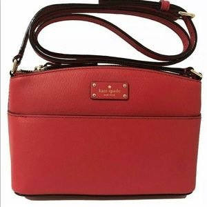 🇺🇸 Kate Spade Red Dome Crossbody Leather  NEW